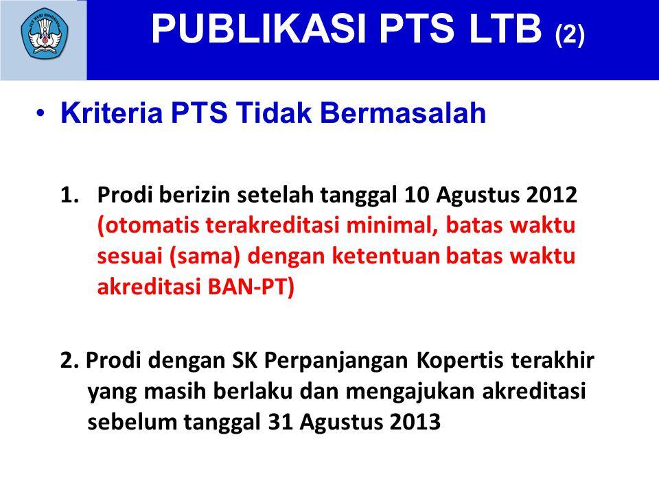 PUBLIKASI PTS LTB (2) Kriteria PTS Tidak Bermasalah