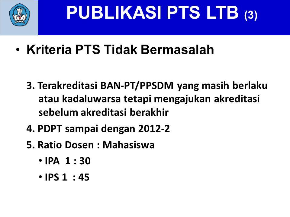 PUBLIKASI PTS LTB (3) Kriteria PTS Tidak Bermasalah