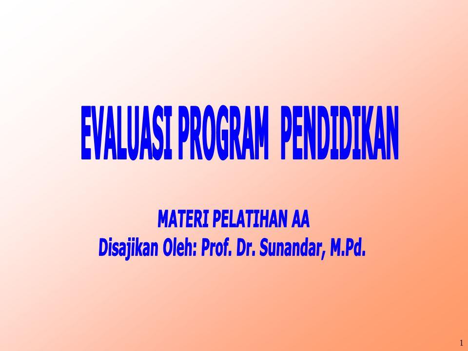 EVALUASI PROGRAM PENDIDIKAN Disajikan Oleh: Prof. Dr. Sunandar, M.Pd.