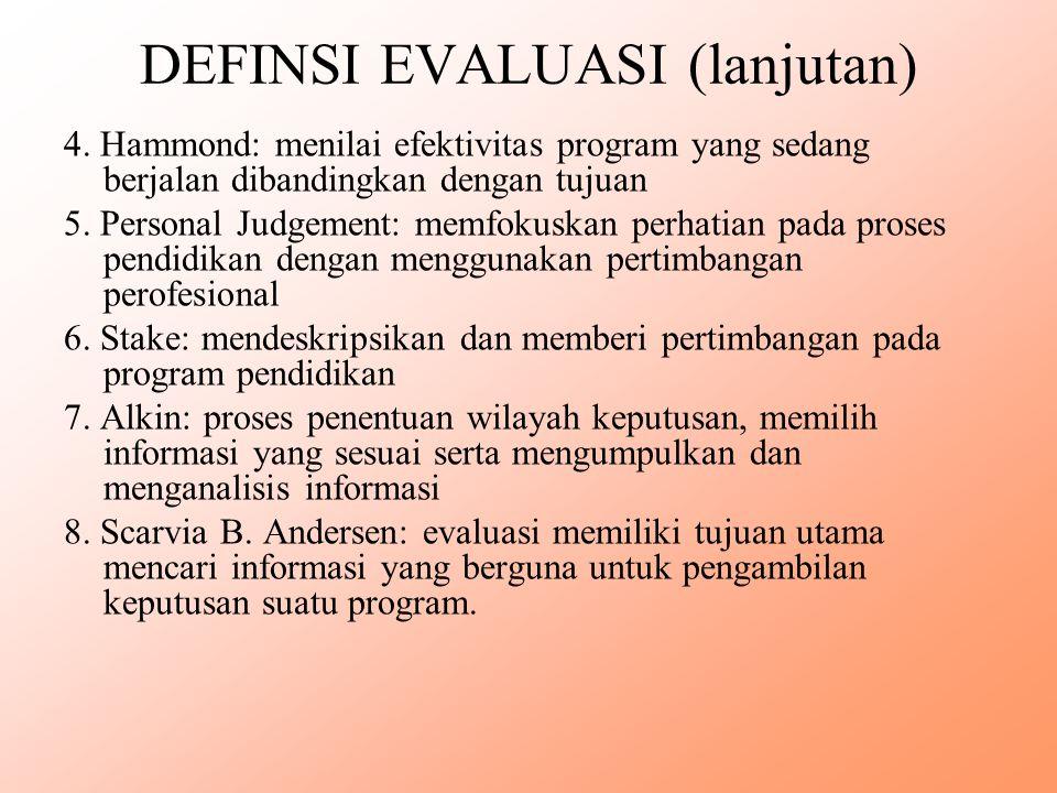 DEFINSI EVALUASI (lanjutan)
