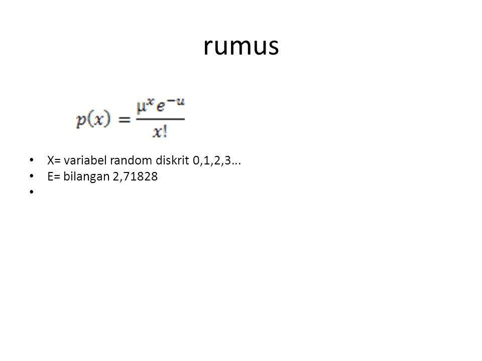 rumus X= variabel random diskrit 0,1,2,3... E= bilangan 2,71828