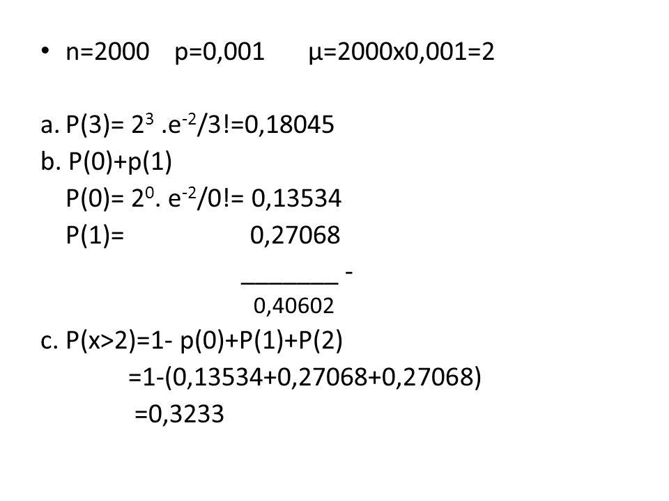 c. P(x>2)=1- p(0)+P(1)+P(2) =1-(0,13534+0,27068+0,27068) =0,3233