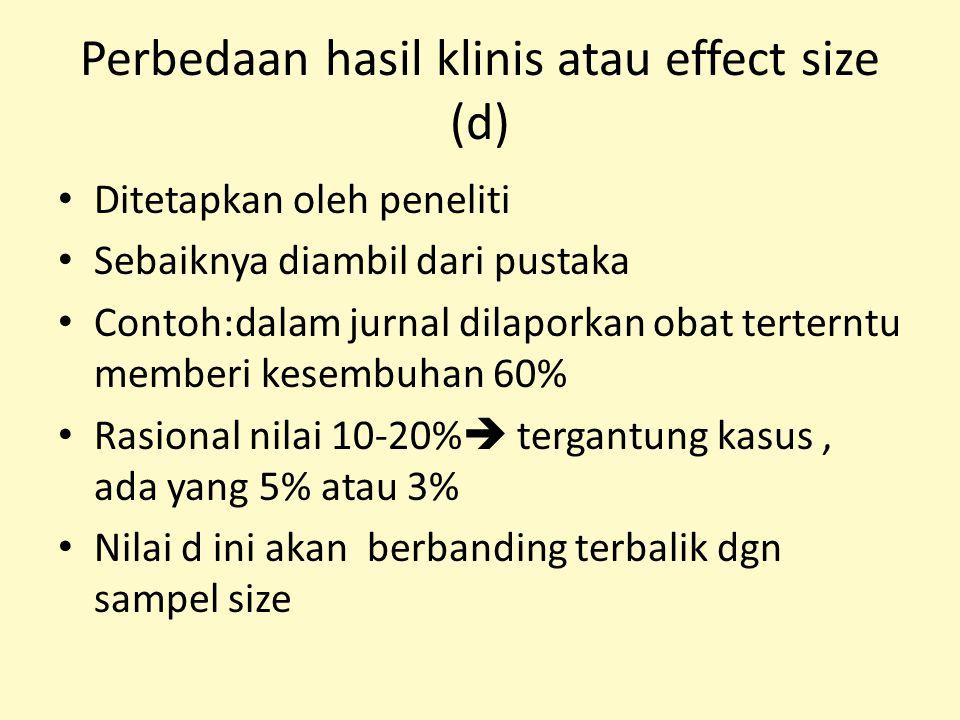 Perbedaan hasil klinis atau effect size (d)
