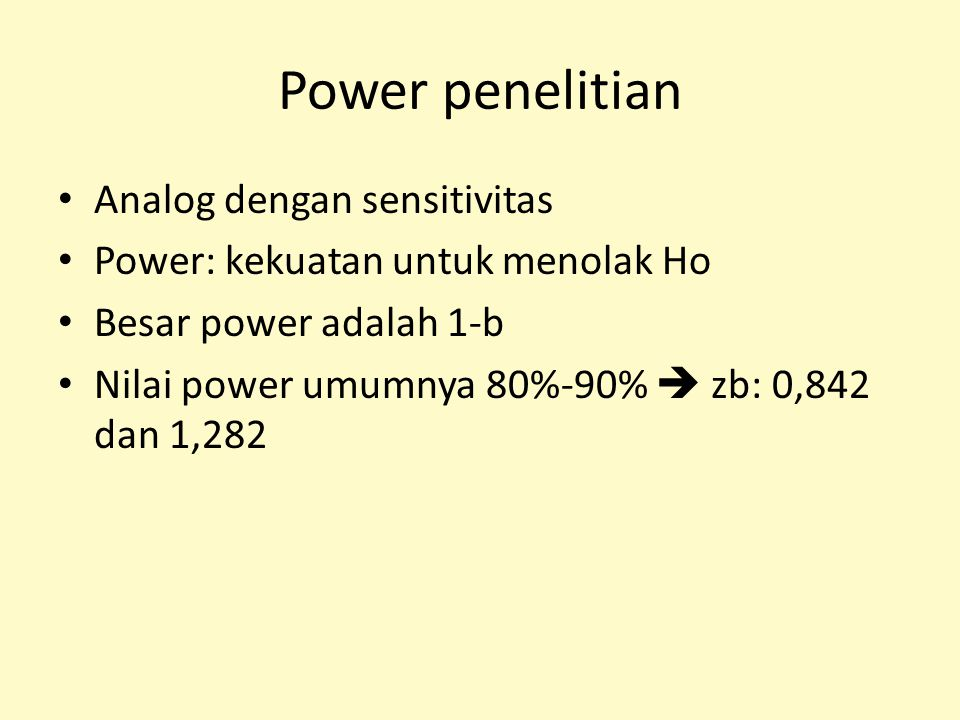 Power penelitian Analog dengan sensitivitas