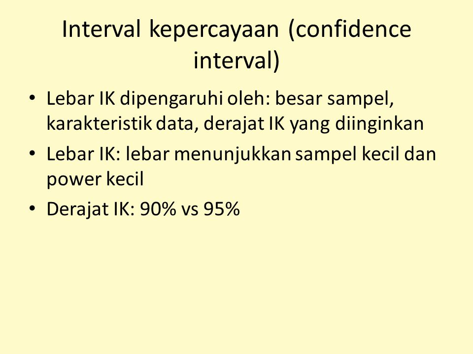 Interval kepercayaan (confidence interval)