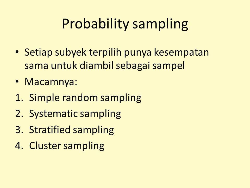 Probability sampling Setiap subyek terpilih punya kesempatan sama untuk diambil sebagai sampel. Macamnya: