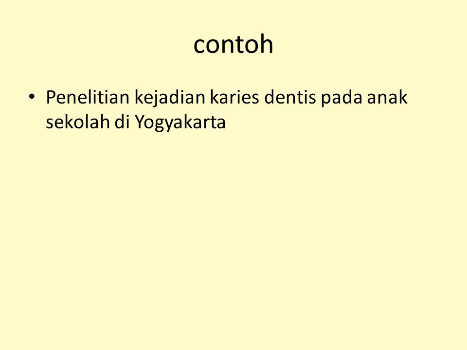 contoh Penelitian kejadian karies dentis pada anak sekolah di Yogyakarta