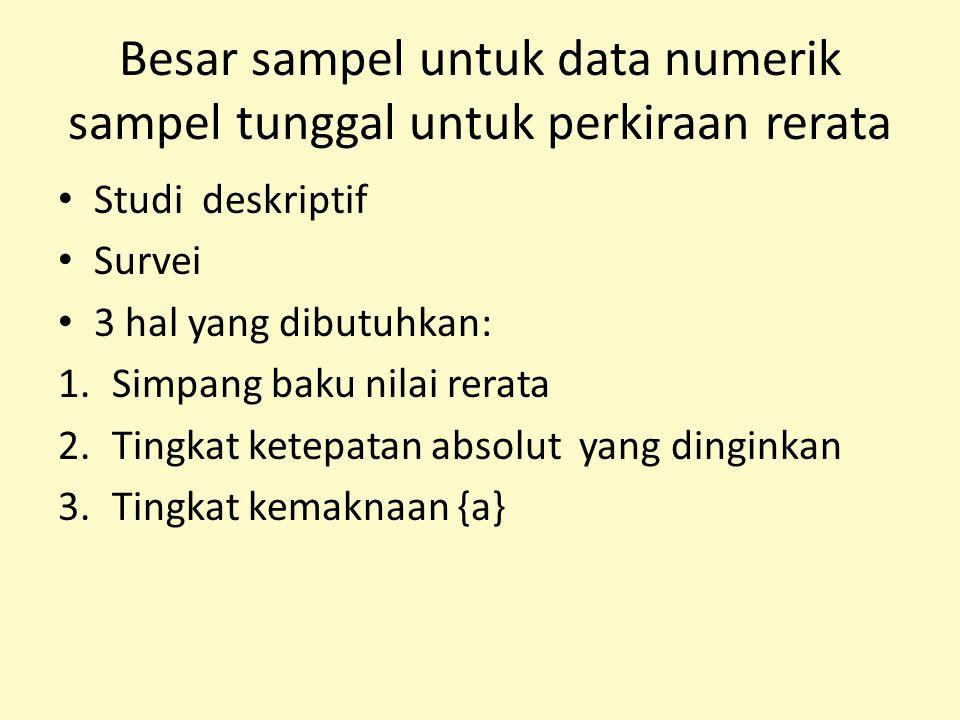 Besar sampel untuk data numerik sampel tunggal untuk perkiraan rerata