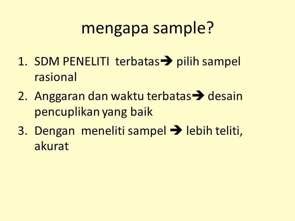 mengapa sample SDM PENELITI terbatas pilih sampel rasional