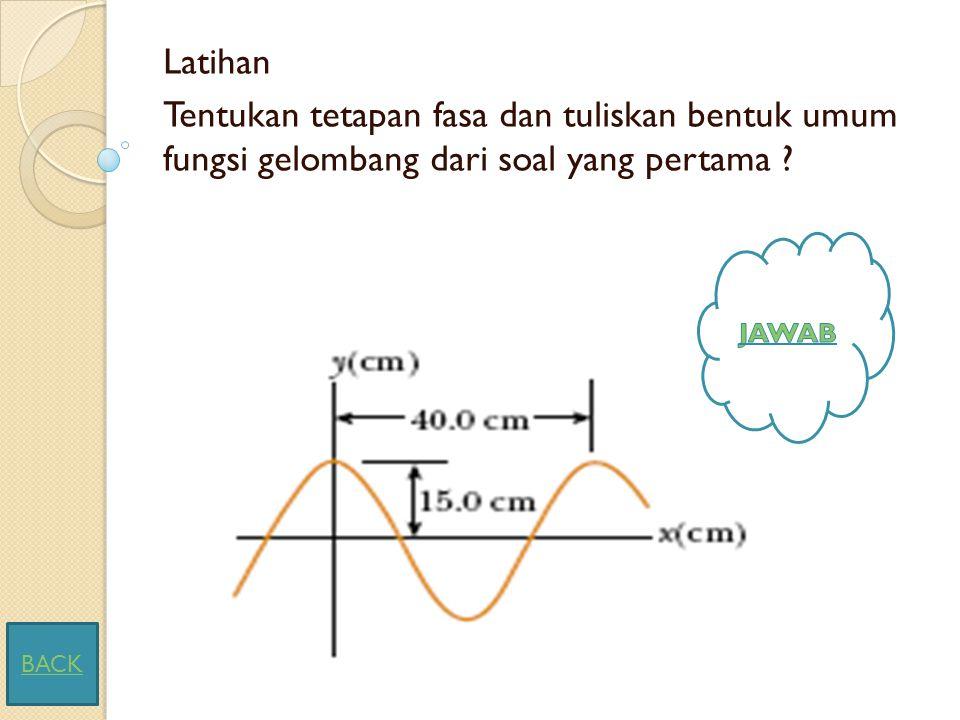 Latihan Tentukan tetapan fasa dan tuliskan bentuk umum fungsi gelombang dari soal yang pertama JAWAB.