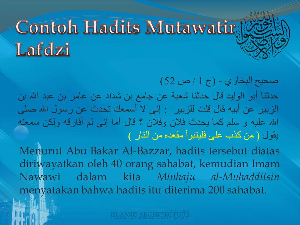 Contoh Hadits Mutawatir Lafdzi