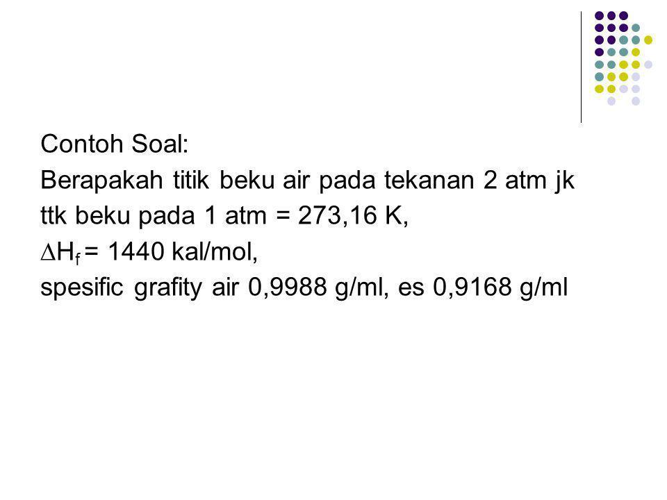 Contoh Soal: Berapakah titik beku air pada tekanan 2 atm jk ttk beku pada 1 atm = 273,16 K, ∆Hf = 1440 kal/mol, spesific grafity air 0,9988 g/ml, es 0,9168 g/ml