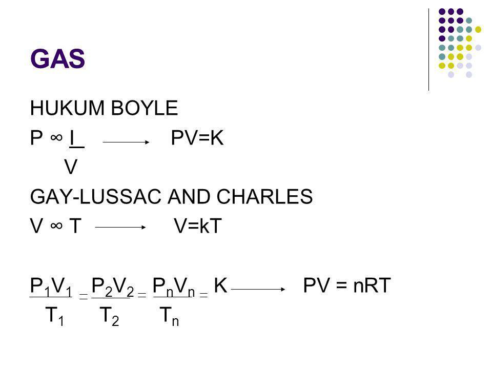 GAS HUKUM BOYLE P ∞ I PV=K V GAY-LUSSAC AND CHARLES V ∞ T V=kT