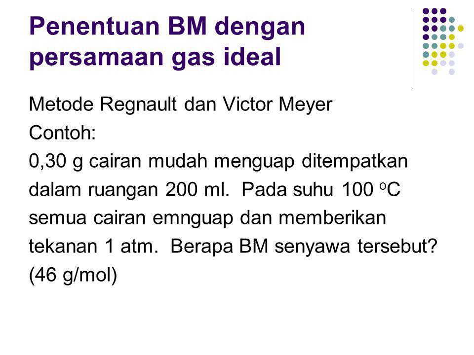 Penentuan BM dengan persamaan gas ideal
