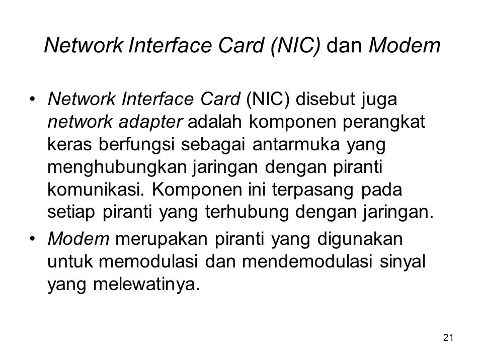 Network Interface Card (NIC) dan Modem