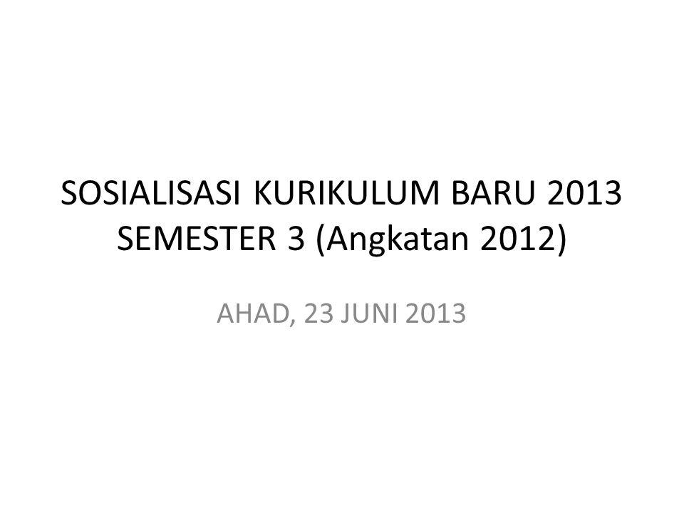 SOSIALISASI KURIKULUM BARU 2013 SEMESTER 3 (Angkatan 2012)
