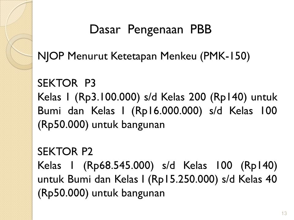 Dasar Pengenaan PBB NJOP Menurut Ketetapan Menkeu (PMK-150) SEKTOR P3