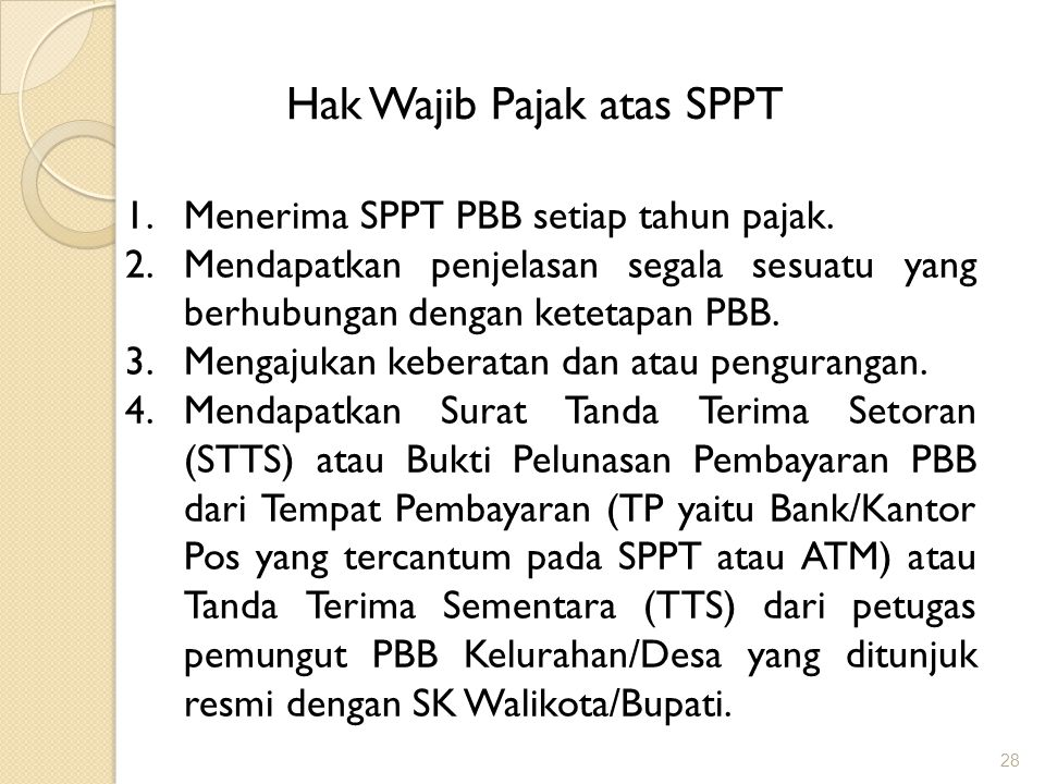 Hak Wajib Pajak atas SPPT