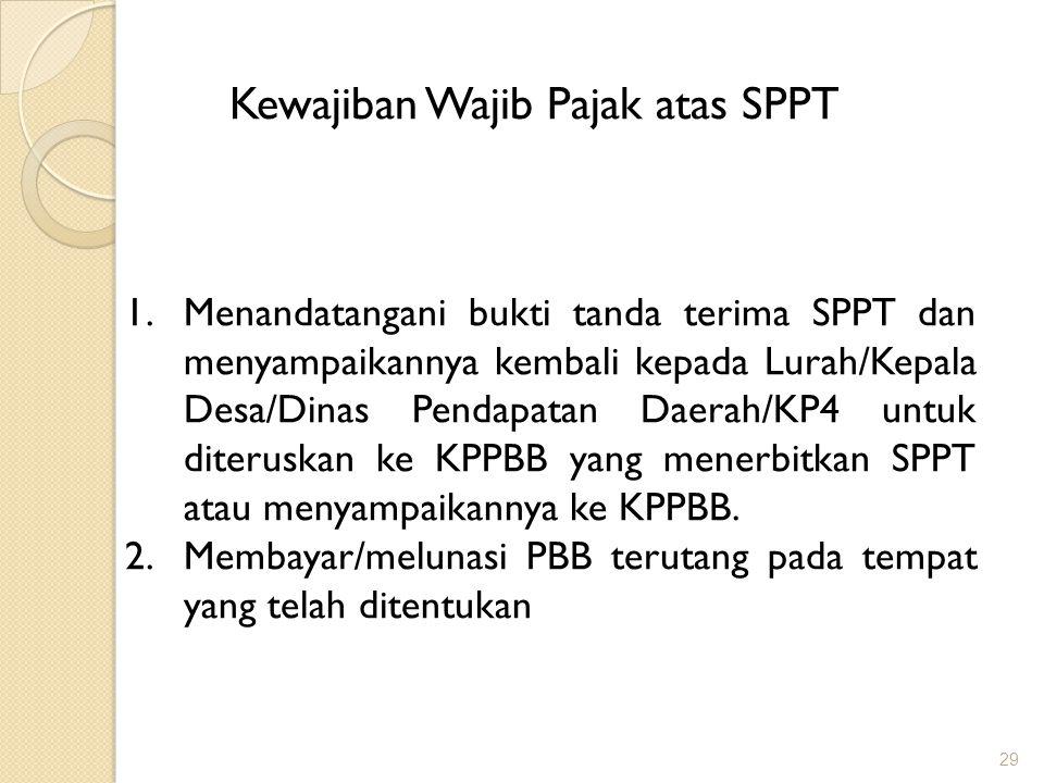 Kewajiban Wajib Pajak atas SPPT