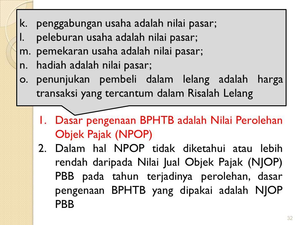 Dasar pengenaan BPHTB penggabungan usaha adalah nilai pasar;