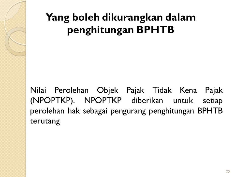Yang boleh dikurangkan dalam penghitungan BPHTB