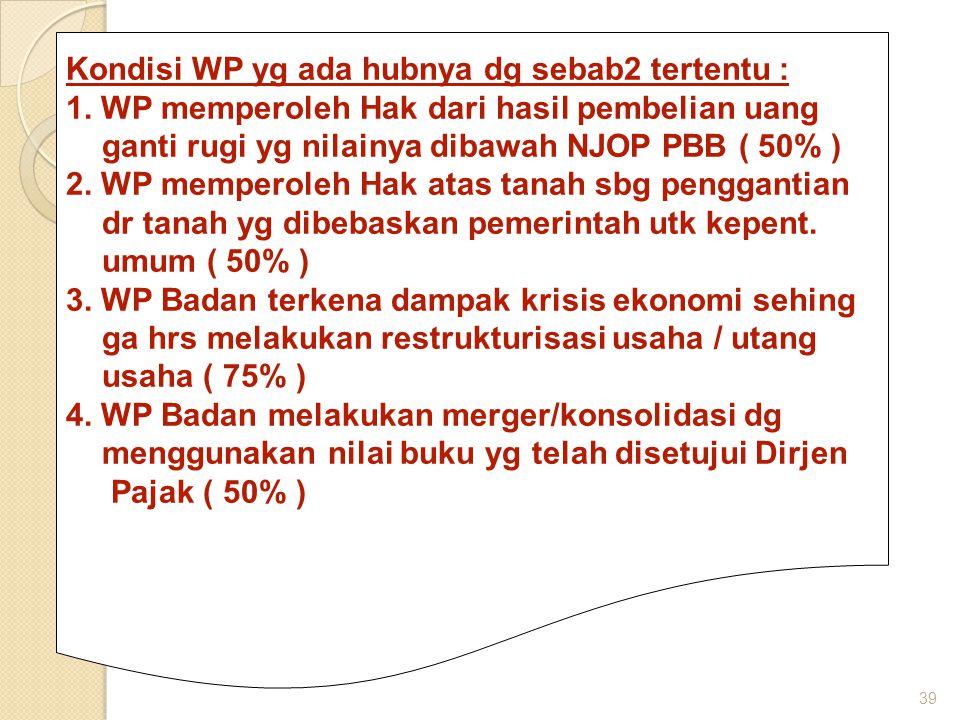 Kondisi WP yg ada hubnya dg sebab2 tertentu :