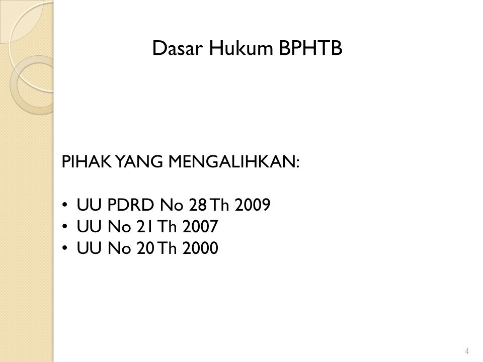 Dasar Hukum BPHTB PIHAK YANG MENGALIHKAN: UU PDRD No 28 Th 2009