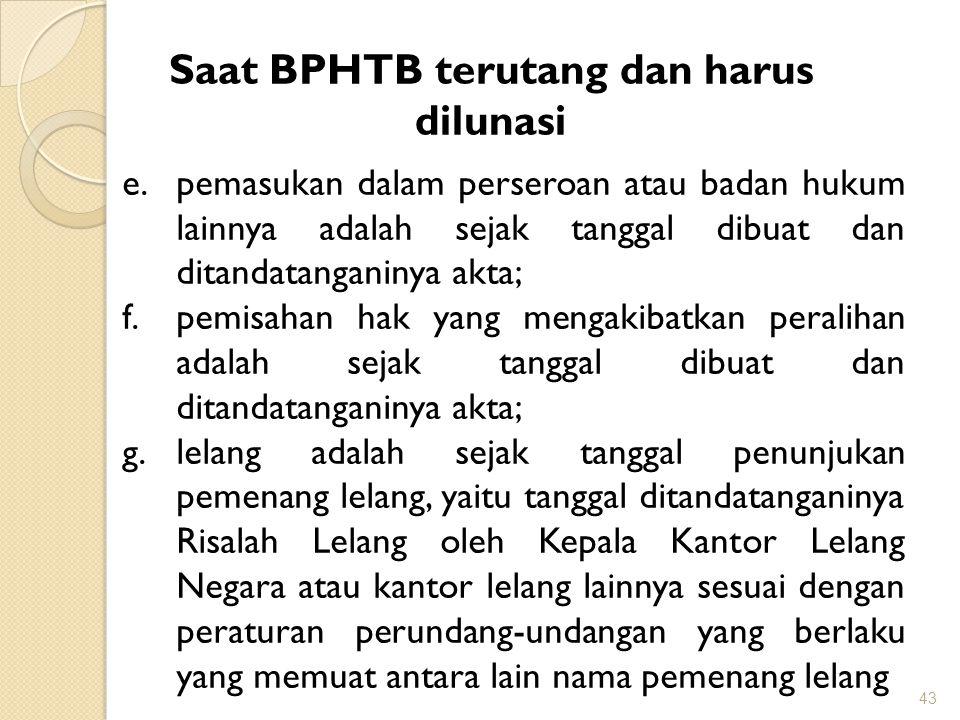 Saat BPHTB terutang dan harus dilunasi