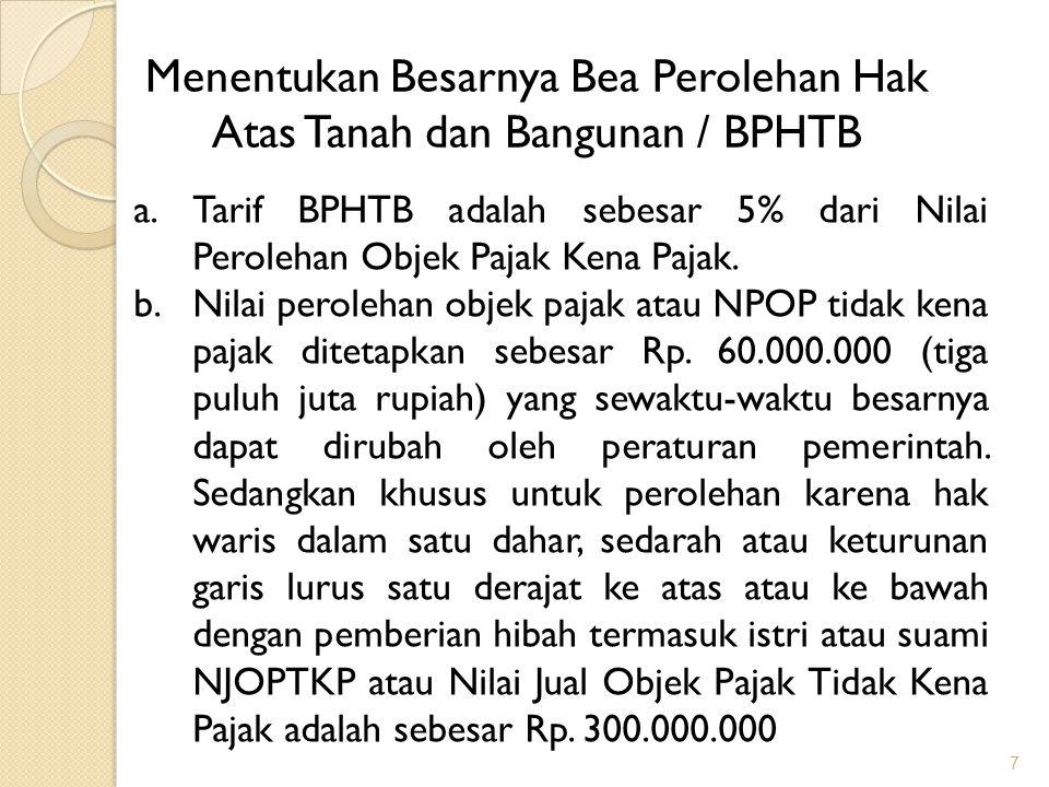 Menentukan Besarnya Bea Perolehan Hak Atas Tanah dan Bangunan / BPHTB