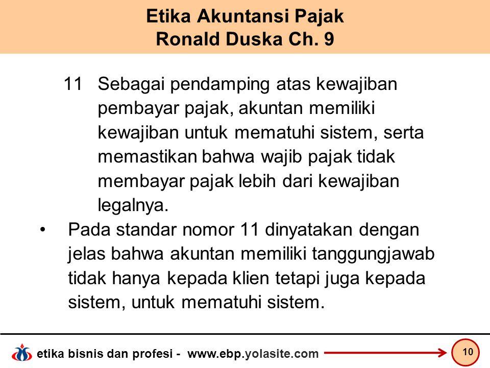 Etika Akuntansi Pajak Ronald Duska Ch. 9