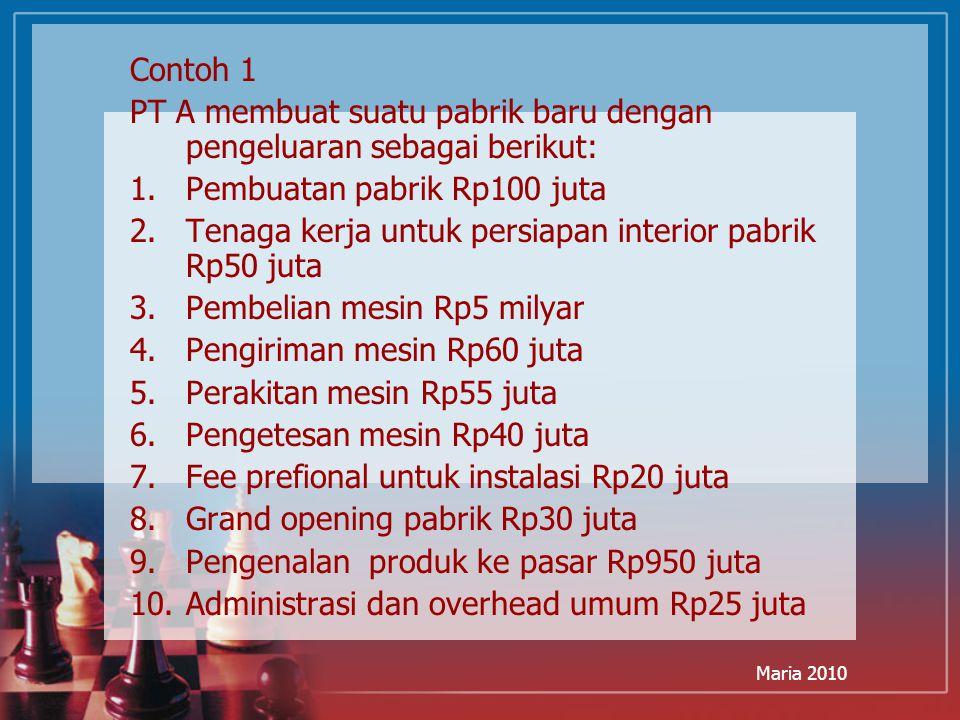 PT A membuat suatu pabrik baru dengan pengeluaran sebagai berikut: