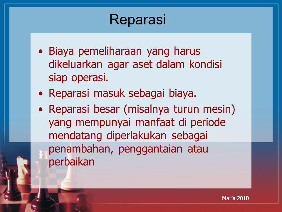 Reparasi Biaya pemeliharaan yang harus dikeluarkan agar aset dalam kondisi siap operasi. Reparasi masuk sebagai biaya.