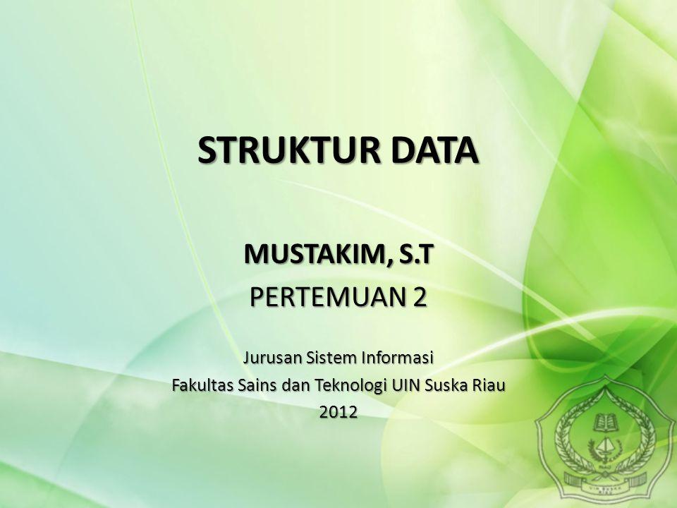 STRUKTUR DATA MUSTAKIM, S.T PERTEMUAN 2 Jurusan Sistem Informasi