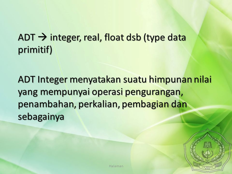 ADT  integer, real, float dsb (type data primitif)