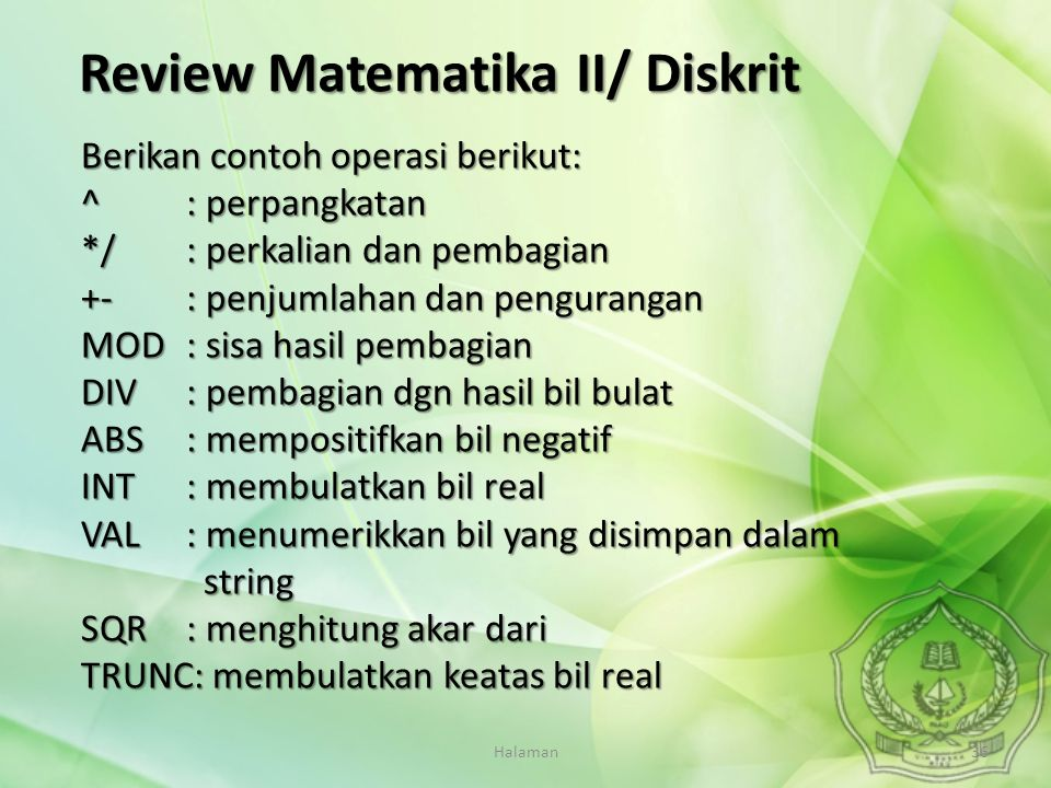 Review Matematika II/ Diskrit