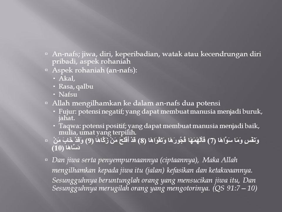 Aspek rohaniah (an-nafs):