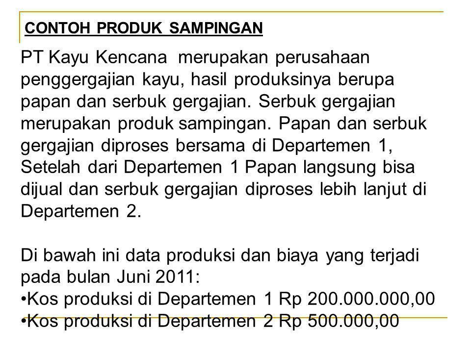 Kos produksi di Departemen 1 Rp 200.000.000,00