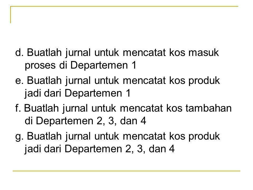 d. Buatlah jurnal untuk mencatat kos masuk proses di Departemen 1
