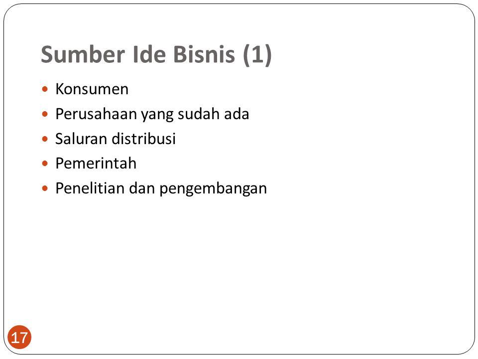 Sumber Ide Bisnis (1) Konsumen Perusahaan yang sudah ada