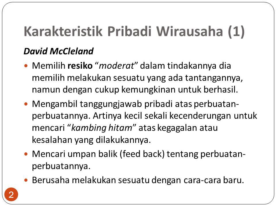 Karakteristik Pribadi Wirausaha (1)