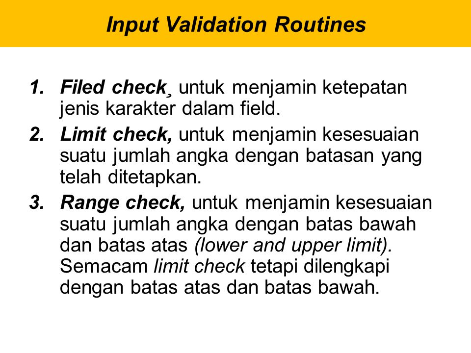 Input Validation Routines