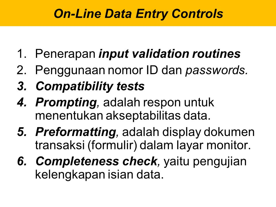On-Line Data Entry Controls
