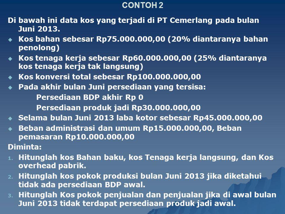 CONTOH 2 Di bawah ini data kos yang terjadi di PT Cemerlang pada bulan Juni 2013. Kos bahan sebesar Rp75.000.000,00 (20% diantaranya bahan penolong)