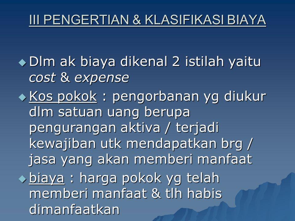 III PENGERTIAN & KLASIFIKASI BIAYA