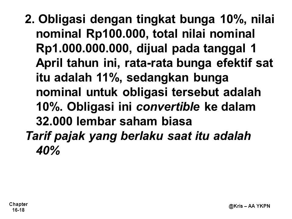 2. Obligasi dengan tingkat bunga 10%, nilai nominal Rp100