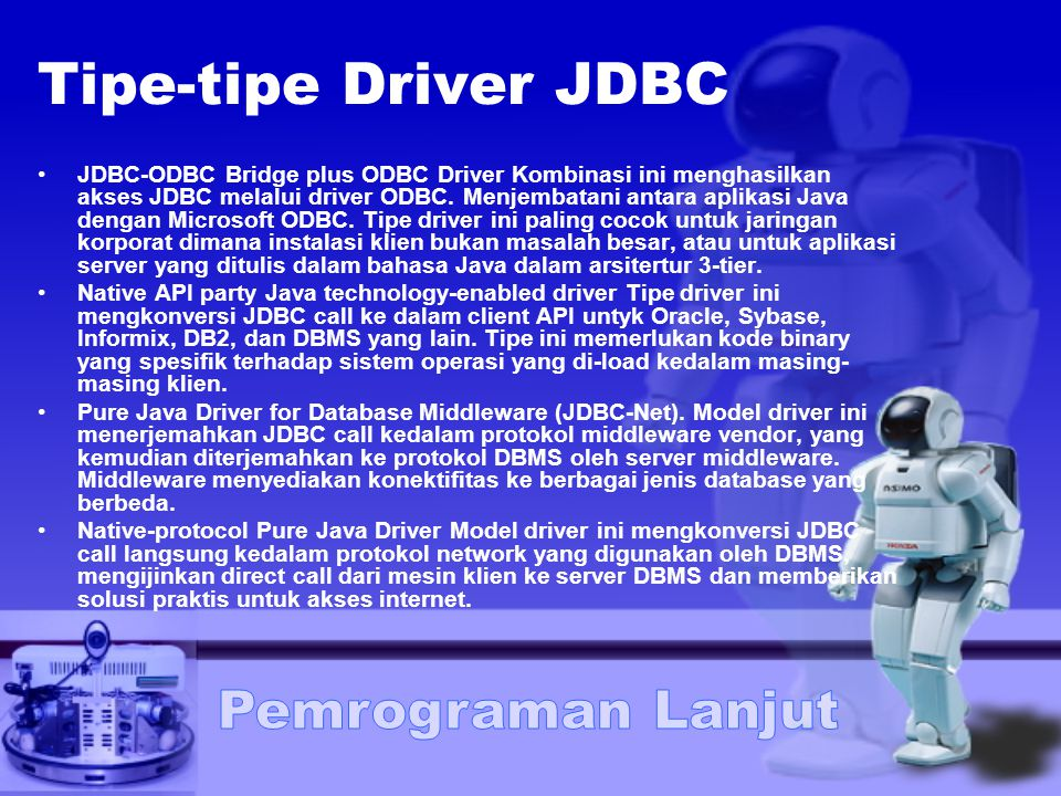 Tipe-tipe Driver JDBC
