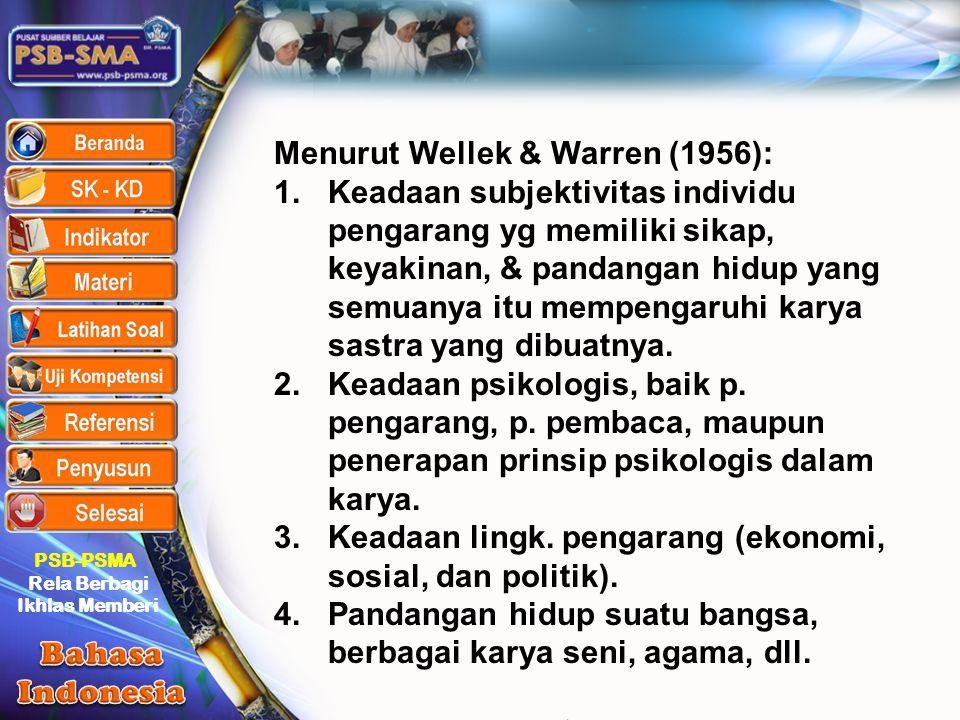 Menurut Wellek & Warren (1956):