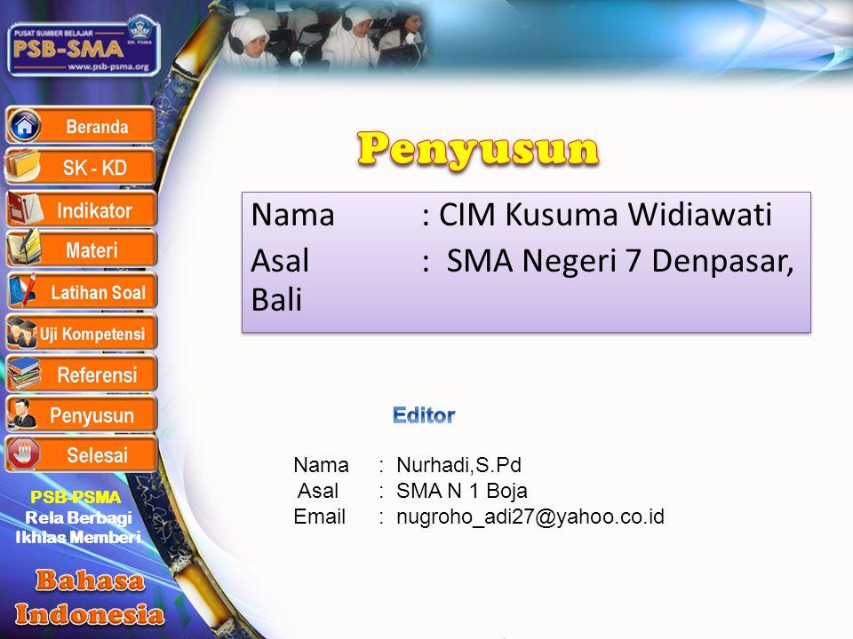 Penyusun Nama : CIM Kusuma Widiawati Asal : SMA Negeri 7 Denpasar, Bali Editor. Nama : Nurhadi,S.Pd.