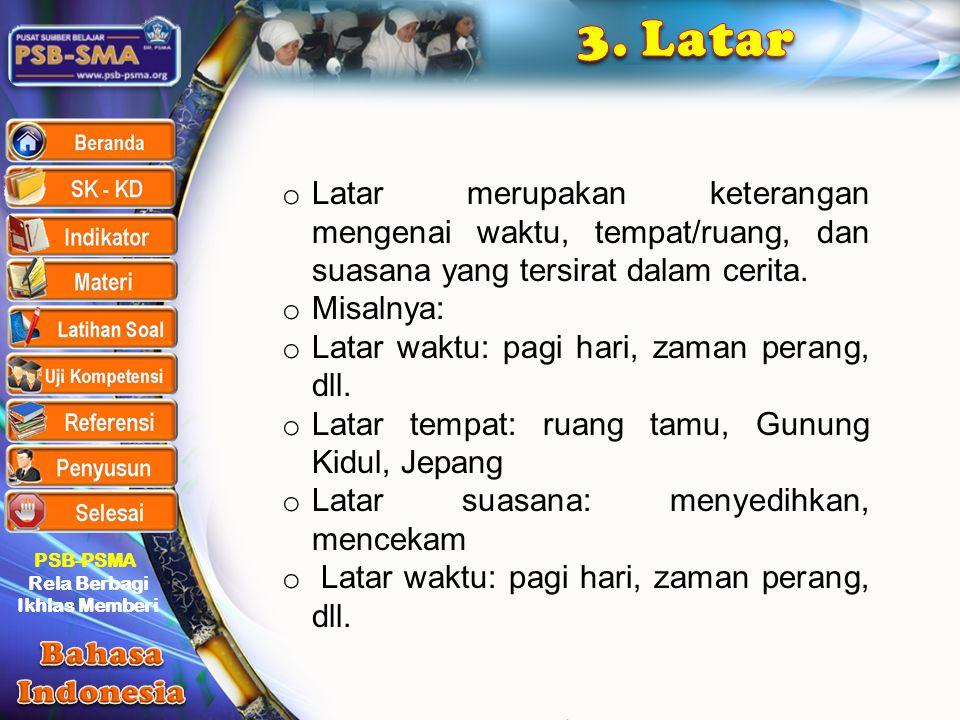 3. Latar Latar merupakan keterangan mengenai waktu, tempat/ruang, dan suasana yang tersirat dalam cerita.