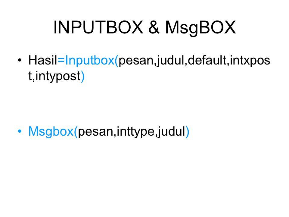 INPUTBOX & MsgBOX Hasil=Inputbox(pesan,judul,default,intxpost,intypost) Msgbox(pesan,inttype,judul)